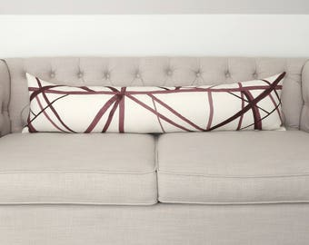 Channels Plum/Oat lumbar designer pillow covers - Made to Order - Kelly Wearstler