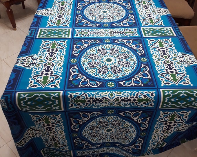 Khayameya fabric. Ethnic print. Turquoise blue. Oriental pattern. For decorative wall hanging, tablecloth, fabric collage DIY sewing sewing