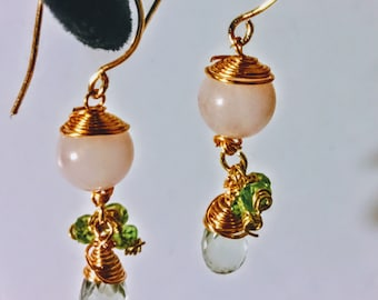 Quartz, Amethyst, and Peridot Earrings