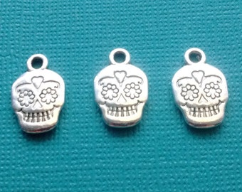 10 Sugar Skull Charms Silver Day of the Dead Skull Charm Dia de los Muertos - CS2413