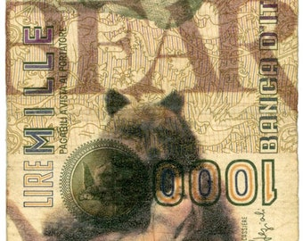 "Original mixed media art, 'Dirty Money Bear' approx 2.5"" X 4.5"""