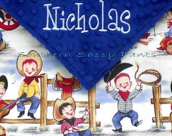 Baby Boy Cowboy Blanket, Western Horseshoe Blanket, Embroidered Cowboy Hat , Minky Dot, Newborn Baby Shower Gift