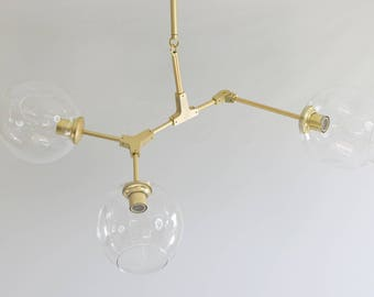 Modern Chandelier, 3 light, Branching Bubble Style