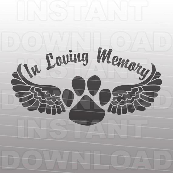 Pet Memorial Svg Filedog Paw Angel Wings Svg Personal