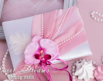 Pink Orchid Wedding Guest Book, Pink Wedding Guest Book, READY TO SHIP Wedding Guest Book, Wedding Guestbook Wedding Album Personalized