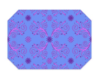 Blue placemat, printed cloth placemat, pink flourish pattern, washable polyester placemat, fabric placemat, table linens, table setting
