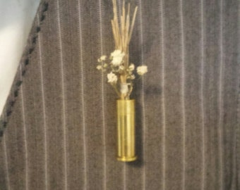 38 SPECIAL GOLD Pistol Gun Shell Boutonniere - Perfect for your Rustic Wedding or as a Groomsmen/Bridal Party Gift!!!