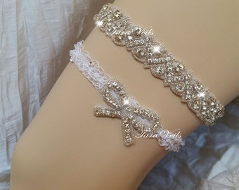 Wedding White Color Bridal Garter | Swarovski  Rhinestone Garter | Wedding garters | Bridal garter | lace garter | Vintage Garter | toss