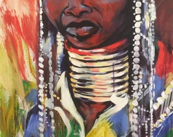 African girl painting - Original