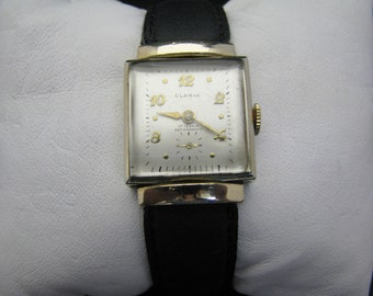 c758 Nice Vintage Clarin Gold Tone Mechanical Wrist Watch 1950's
