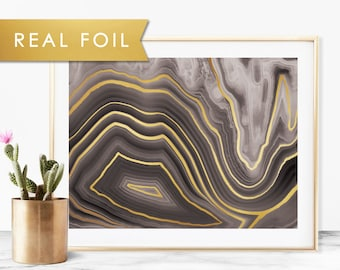 Black Agate Quartz with Real Gold Foil Art Print