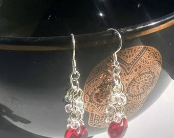Shaggy loop chainmail/ chainmaille  earrings with Swarovski heart