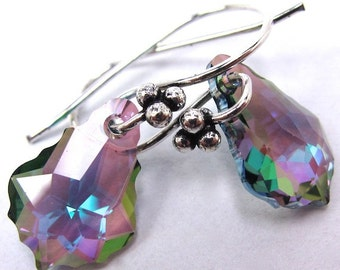 Swarovski Purple and Green Earrings, Paradise Shine Baroque Swarovski Crystal Earrings, Purple and Green, New Swarovski Color, Free US Ship