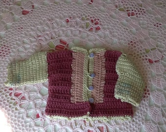 Crocheted  multi colored cardi for newborn to 6 mos