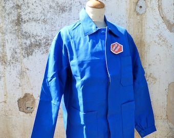 Vintage  1960s French blue faded chore jacket/worker jacket/Bleu de travail