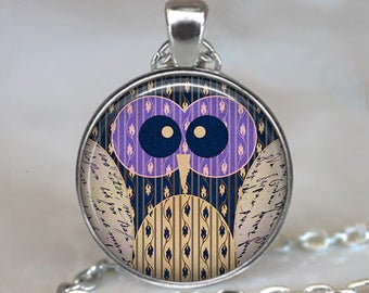 Purple-Eyed Owl necklace, colorful owl necklace owl pendant owl jewelry owl jewellery owl lover gift, owl key ring owl key chain key fob