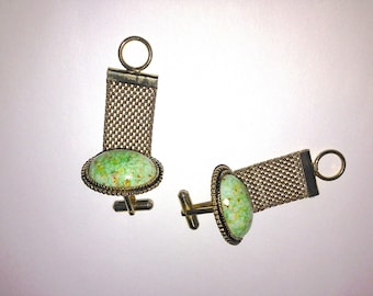 Vintage Statement Mesh Cufflinks Large Brass Domed Faux Stone Medallion Green Gold Speckles