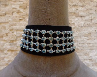 Elegant Aquamarine and Sterling Silver Choker on Black Suede