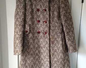 vintage women's boucle' double breasted tweedy herringbone dress coat Bromleigh , 1960s