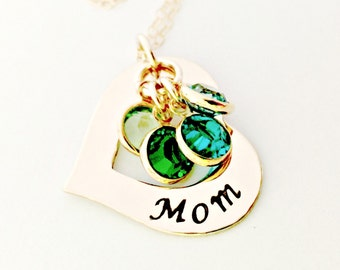 Personalized Mom Jewelry - Custom 14K Gold Filled Open Heart Washer Necklace with Birthstone Crystals - Mother, Wife, Nana, Gift for Her