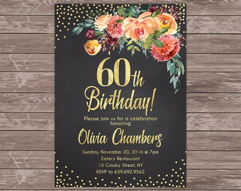 60th birthday invitation floral women birthday invitation chalkboard birthday invite 60th birthday invitation floral women birthday invitation personalized digital filmwisefo Choice Image