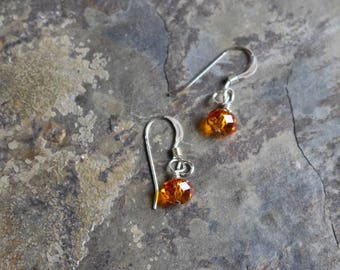 Earrings with tangerine Swarovski crystals and 925 sterling silver earwires, EE049