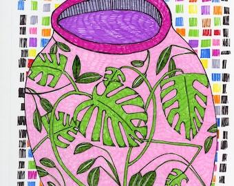 Pink Allegro - Original Mixed Media Art