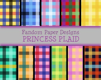 Princess Plaid - Digital Scrapbook Paper - Eleven Sheets