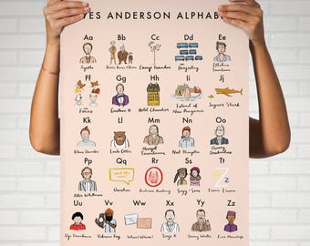 Wes Anderson Alphabet Poster 16x20 - moonrise kingdom grand budapest hotel royal tenenbaums darjeeling limited fantastic mr fox movie art