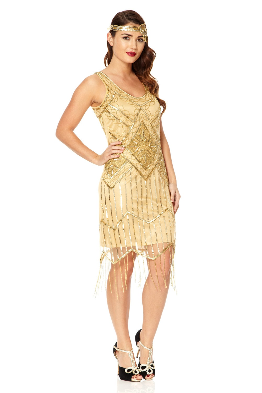 tall uk12 us8 aus12 gold vintage inspired 20s vibe flapper