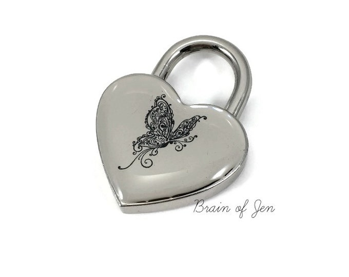 Silver Heart Padlock with Black Butterfly You Choose Size