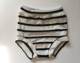 Navy Stripe High Waisted Bloomers, shorties, diaper cover