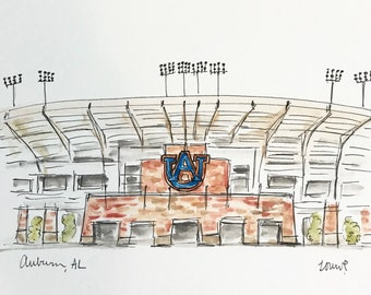 Football Stadium Auburn Tigers, College, Stadium illustration, Graduation Gift, Archival Quality 8x10 print