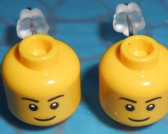 Hand Made BRICK Smiley Face HEADS Stud Earrings NEW, made using Lego minifigure heads Quirky Ideal Gift