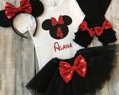 Personalized red and black minnie mouse 4th birthday outfit, Minnie mouse fourth birthday shirt, 4th birthday minnie mouse, minnie tutu