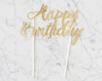 Happy Birthday Cake Topper, handmade gold glitter sparkle paper accessory