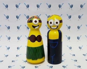 Wooden Peg Dolls - Minions (set of 2)