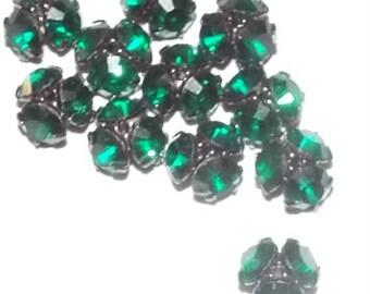 12 Vintage Swarovski Beadcaps- Emerald/Gunmetal