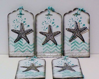 Starfish Tags #5...Set of 10...Blue and White...tags...Ocean Spray...Hand Stamped Tags...Wedding Tags...Bridesmaid Tags...Stampin'Up! stamps