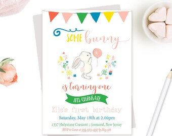 Birthday Party Invitation -  Bright Bunny Birthday Invitation - Girls Birthday Invite - Bunny Party Birthday Invite - Rabbit Birthday Invite