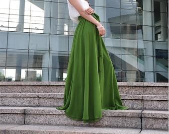 High Waist Maxi Skirt Chiffon Silk Skirts Beautiful Bow Tie Elastic Waist Summer Skirt Floor Length Long Skirt (037), #73
