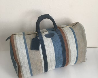 Vintage Carpet and Suede Weekend Travel Carry On Bag