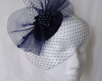 Navy Veiled Fascinator - Midnight Blue Curl Feather Veil & Crinoline Wedding Fascinator Percher Mini Hat Ascot Derby - Made to Order