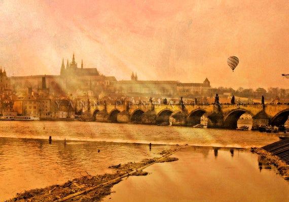 Prague,Hot Balloon Air,Religious Art,Magical sunset,Orange decor,Travel decor,clouds print,modern decor,landscape photograph,hot air balloon
