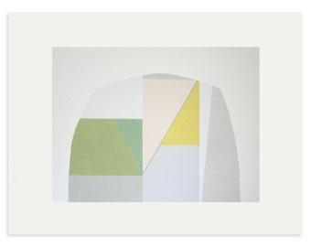 Pastel geometric art, large, abstract,  colorblock original screenprint on Fabriano Rosaspina by Emma Lawrenson