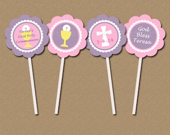 Personalized First Communion Cupcake Toppers / DIY Printable Digital PDF File / Pink Lavender