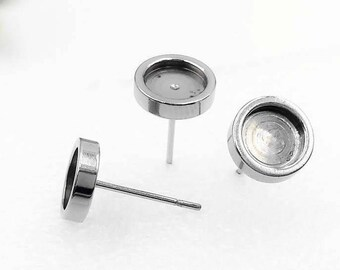 10PCS 316L Stainless Steel Ear Studs W/ Inner 6mm/ 8mm/ 10mm/ 12mm Round Bezel Cup Base Setting Surgical Steel Hypoallergenic  Stud Earrings