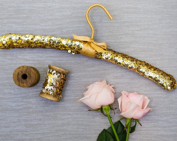 Luxury Gold Sequin Wedding Hanger