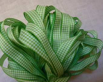 3 m color spring lime green gingham Ribbon