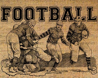 FOOTBALL Text Running SPORTS Pigskin Digital Collage Sheet Download Burlap Fabric Transfer Iron On Pillows Totes Tea Towels No 3884